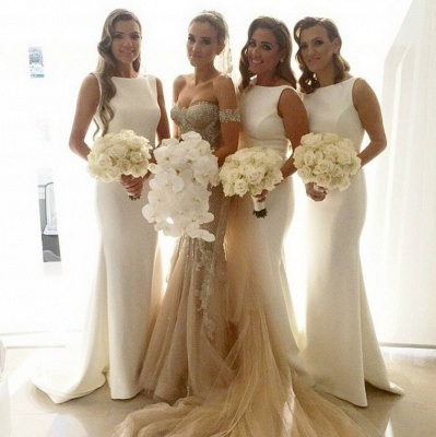 White Simple Mermaid Bridesmaid Dress New Arrival Sleeveless Sweep Train Prom Dress_4
