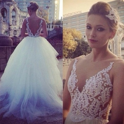 Pure White Princess Ball Gown Wedding Dress Sheer Nude Tulle Bridal Gwons with Pearls TB0310_4