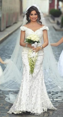 Sexy Mermaid Off the Shoulder Wedding Dress New Arrival Lace Long Bridal Gowns_1