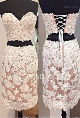 White Sweetheart Lace Cocktail Dresses  Mini Two Pieces Lace up Homecoming Dresses BA6821_1