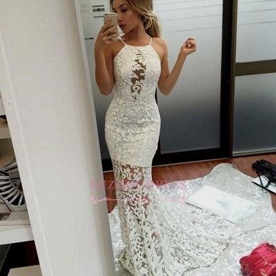 Elegant Long Mermaid Lace Evening Dress | Jewel White Prom Dresses_1