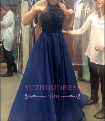 Ruffles Dark-Navy-Blue Halter Neck Beading A-line Prom Dresses_1