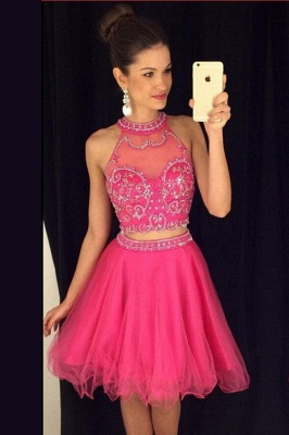 Fuchsia Two Piece Crystal Homecoming Dresses New Arrival Sleeveless Mini Cocktail Gowns BA3707_1