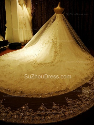 Gorgeous Bridal Dresses Sweetheart Appliques Crystal Beading  Elegant A Line  Wedding Gowns_2