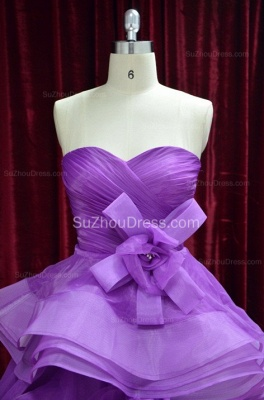 Sweetheart Organza Quinceanera Dresses  Floor Length Ruffle Prom Gowns with Handmade Flower_2
