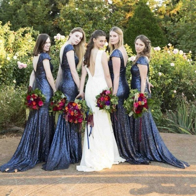 Sparkly Cap Sleeve Blue Sequins Bridesmaid Dresses   Open Back Long Dresses for Maid of Honor_3