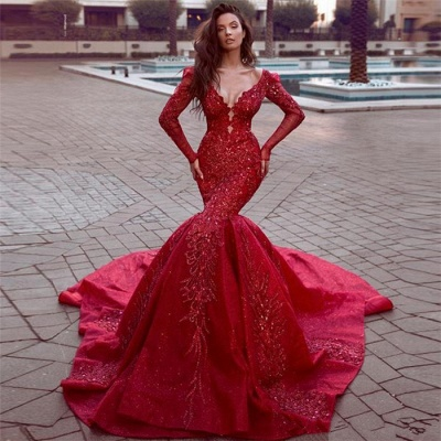 Gorgeous Red Long Sleeve Mermaid Prom Dress With Lace Appliques_2