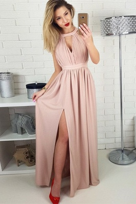 Simple A-line Sleeveless Evening Dresses    Side Slit Ruffles Party Dresses_1