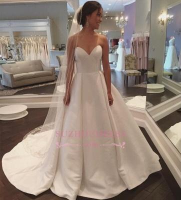 Sleeveless Simple A-line Sweep-Train White Sweetheart Wedding Dress_1