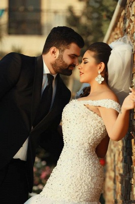 White Sexy Mermaid Off Shoulder Wedding Dress with Beadings Tulle Lace Court Train Formal Bridal Gown_2