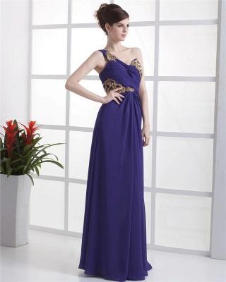 Elegant Prom Dresses  One Shoulder Sleeveless A Line Floor Length Appliques Beading Pleats Backless Evening Gowns_3