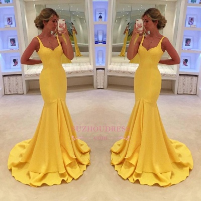 Mermaid Tiered Simple Spaghetti-Straps Yellow Prom Dress BA4070_1