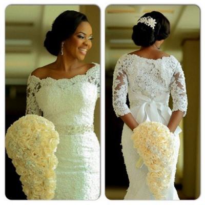 Vintage Long Sleeve Mermaid Lace Wedding Dress Crystal Latest Long Plus Size Bridal Gowns BA0645_3