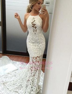 Elegant Long Mermaid Lace Evening Dress | Jewel White Prom Dresses_3