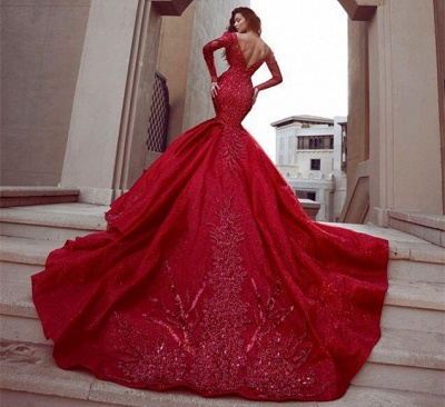 Gorgeous Red Long Sleeve Mermaid Prom Dress With Lace Appliques_5