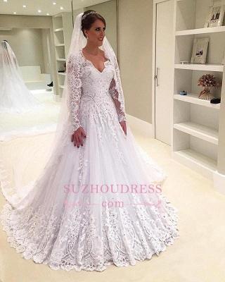 V-Neck Appliques Long-Sleeves Elegant Tulle A-Line Beadings Wedding Dress_1