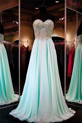 Pretty Chiffon Prom Dress Sweetheart Sequins Beads Evening Dresses_1