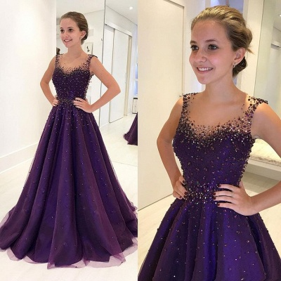 Grape A-line Sleeveless Prom Dresses  Crystal Sheer-Tulle Evening Gowns_4