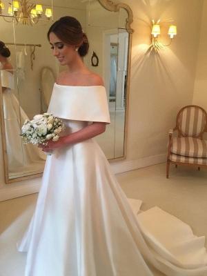 White A-line Satin Wedding Dresses |  Off the Shoulder Court Train Simple Bridal Gowns_1