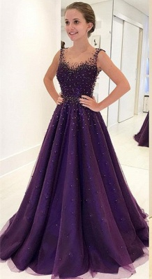 Grape A-line Sleeveless Prom Dresses  Crystal Sheer-Tulle Evening Gowns_1