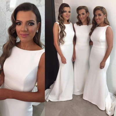 White Simple Mermaid Bridesmaid Dress New Arrival Sleeveless Sweep Train Prom Dress_3