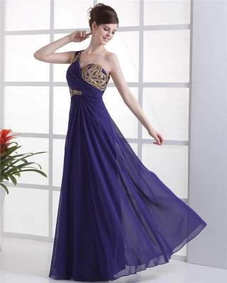 Elegant Prom Dresses  One Shoulder Sleeveless A Line Floor Length Appliques Beading Pleats Backless Evening Gowns_2