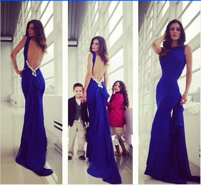 Royal Blue Stretch Stain  Open Back Evening Dresses with Crystals Sexy Long Party Dresses for Prom_2