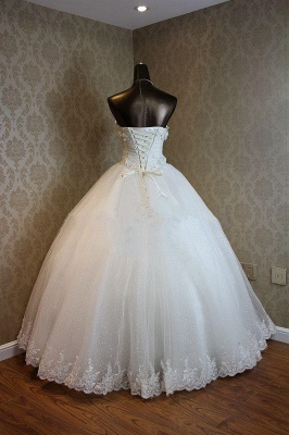Lace-Up Sweetheart Ball Gown Princess Bridal Dresses Strapless Lace Charming Wedding Gowns_2