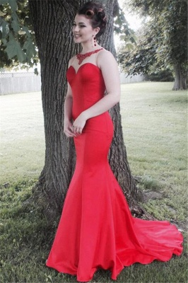 Red  Sexy Mermaid Long Evening Dress Vintage Sweep Train Plus Size Formal Occasion Dresses_1