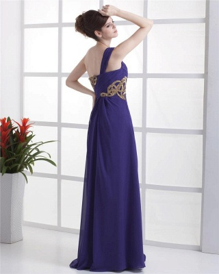 Elegant Prom Dresses  One Shoulder Sleeveless A Line Floor Length Appliques Beading Pleats Backless Evening Gowns_5