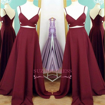 A-line Sweep Train Sleeveless Sexy Evening Gowns Spaghetti Strap  Prom Dress BA4374_1