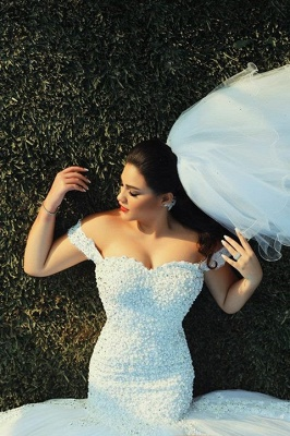 White Sexy Mermaid Off Shoulder Wedding Dress with Beadings Tulle Lace Court Train Formal Bridal Gown_4