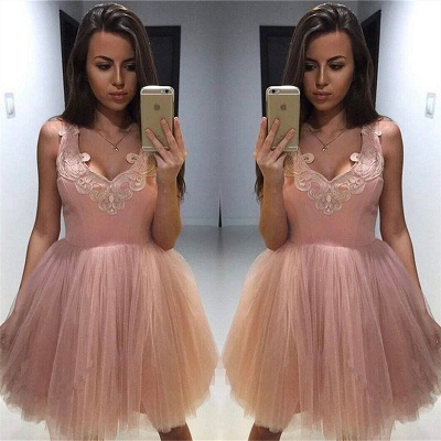 V-neck Appliques Pink Homecoming Dresses   Puffy Tulle Short Hoco Dress_3