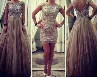 Puffy Tulle Skirt Sparkly Crystals Prom Gowns  Long Evening Dresses_3
