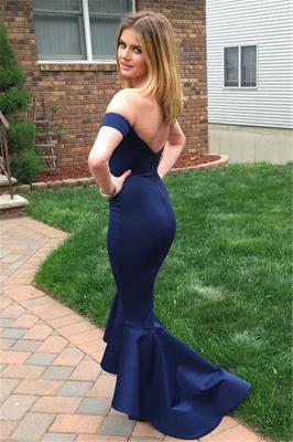 Navy Sheath Evening Dresses Off The Shoulder Sexy Open back Prom Gown BA3493_3