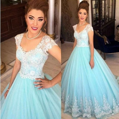 Baby Blue Lace Cap Sleeves Evening Dress  Princess Tulle Formal Ball Dress BA7241_3