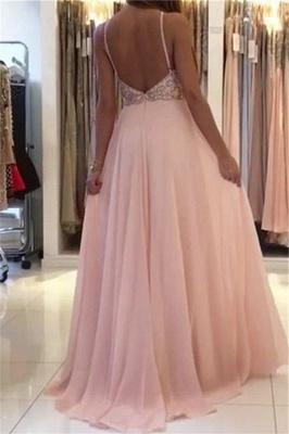 Open Back Pink Evening Dresses    Beads Crystals Chiffon Long Prom Dress  AN0009_3
