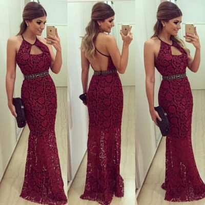 Halter Lace Backless  Evening Gowns Latest Floor Length Party Dresses_3