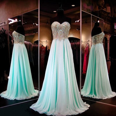 Pretty Chiffon Prom Dress Sweetheart Sequins Beads Evening Dresses_3