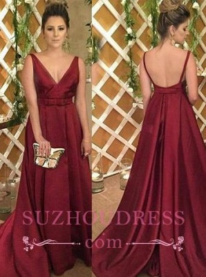 V-Neck Backless Sleeveless Burgundy Satin Evening Dress_3