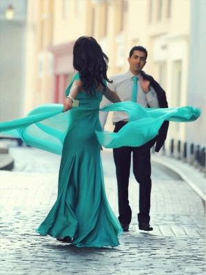 New Arrival Short Sleeve Green Long Evening Dress Latest Crystal Chiffon Formal Occasion Dress_2