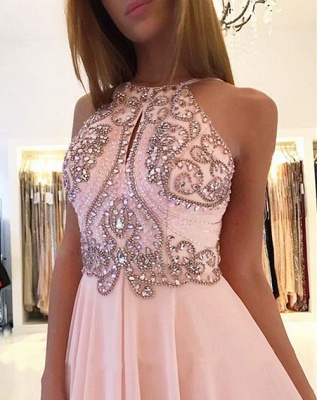 Open Back Pink Evening Dresses    Beads Crystals Chiffon Long Prom Dress  AN0009_4