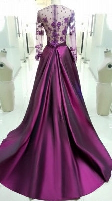 A-Line Purple Long Sleeve Prom Dress Beading New Arrival Tulle Evening Dress with Train_3