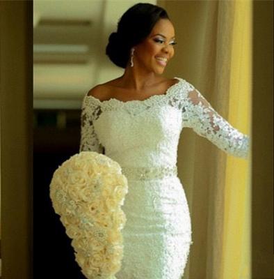 Vintage Long Sleeve Mermaid Lace Wedding Dress Crystal Latest Long Plus Size Bridal Gowns BA0645_2