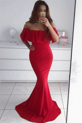 Off The Shouder Red Formal Dress  Mermaid   Long Evening Dress_1