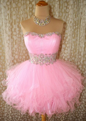 Cute Pink Crystal Organza Mini Homecoming Dresses Lace-Up Sweetheart Fitted Short Dress with Beadings_1