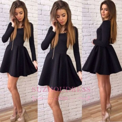 Long-Sleeves Black A-line Sexy Short Homecoming Dresses_1