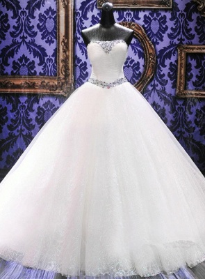 Rhinestone Cathedral Train Lace Wedding Dresses Lace-Up Elegant Sleeveless  Bridal Gowns_1