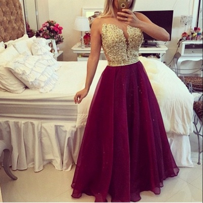 Sweetheart Burgundy Chiffon Long Prom Dress Popular Plus Size Formal Evening Dresses BMT020_2