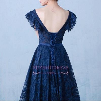 V-Neck A-line Elegant Lace Beading Dark-Navy Prom Dresses_1